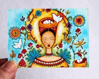 Art Print, ACEO ATC Mexican Girl Art, Whimsical Storybook Garden Artist Trading Card, Illustration Watercolor Turquoise Blue