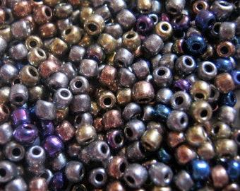 Fashion Glass Metallic Bronze Bead Mix 30 grams