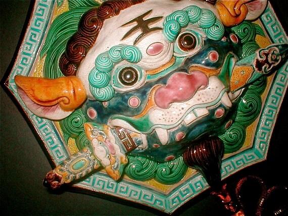 Guardian Foo Dog Wall Tile - Chinese Terra Cotta Garden Protector - Jiao Zhi Style