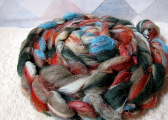 Textured Roving No.9 - Hand Blended and Pulled Fiber for Spinning and Felting