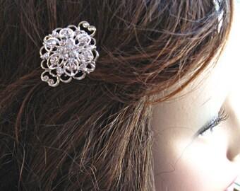 2 Crystal Hair Pins, Bridal Hair Accessories, silver clear, Rhinestone Hair clips,Bridesmaids Gift, Bobby pins, U Pins, Updo Pins