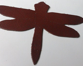 4 Leather Die Cut Dragonfly Chestnut Brown Color