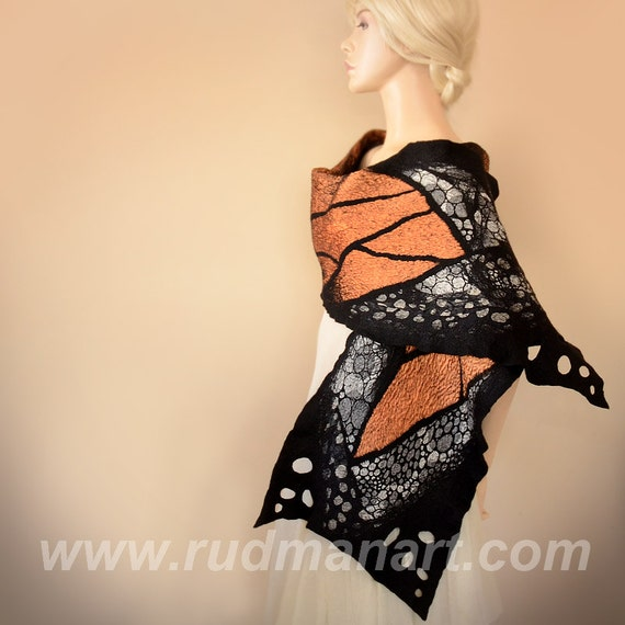 Halloween gift 20% discount Felted Scarf Wrap Shawl Wool Silk organic natural eco Butterfly Black Orange