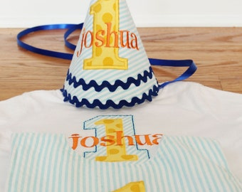 Boys First Birthday Hat - Aqua stripes, Michael Miller sunny ta dots, orange, and navy blue accents - Free personalization