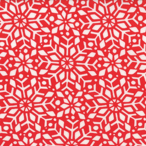 Moda In From the Cold Christmas Snowfall Red Snowflakes Hearth Red Kate Spain Fabrics, 14 inches
