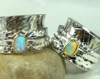 Opal  Spinner Ring ,sterling silver stone ring, 22 karat gold and gemstone ,made to order