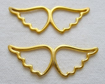 2 Large Smooth Open Wings Pendant Connector, 22K Gold Plated