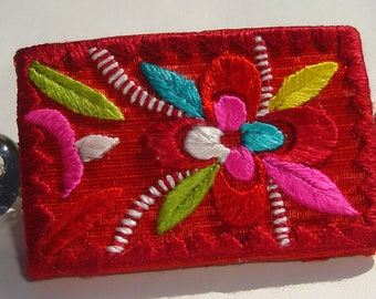 Red embroidered art pendant from China with  clear glass gems handmade barrette hair clip unique affordable