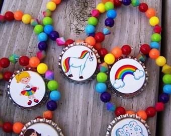 Girls Teens Rave Rainbow Girl Horse Birthday Party Favor Bracelet 6pk