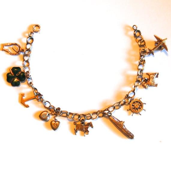SALE Vintage 14K Gold 9 Charm Bracelet Antique Ships FREE