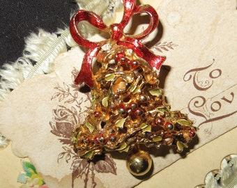 Vintage Christmas Bell Brooch