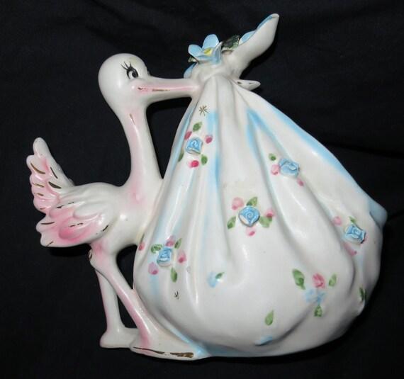 Vintage Ceramic Stork Planter
