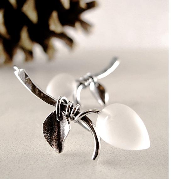 Rock Crystal earrings, Sterling Silver, frosted clear gemstone drops, Winter Branch