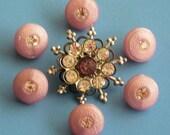 Pretty Pink Vintage Rhinestone Buttons