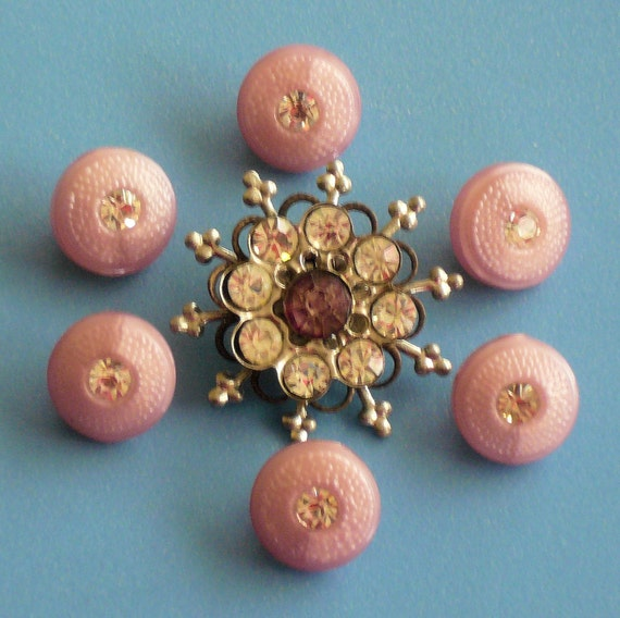 Pretty Pink Vintage Rhinestone Buttons