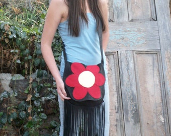 "READy to SHiP!!! 70's Vintage Style Hippie Purse Red Daisy Fringed Retro Flower Deerskin Handbag ""BIG RED FLOWER"" Handmade by Debbie Leather"