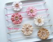 SAVE 15% Baby Newboprn Headband. Baby Girl Headband. Burlap Flower Headband. Vintage Inspired Photo Prop Boho Baby Girl Bow. Little Girl Bow