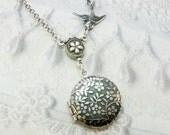 Silver Locket Necklace - LITTLE FLOWER LOCKET - Miniature Locket - Jewelry by BirdzNbeez - Christmas Wedding Birthday Daughter Gift