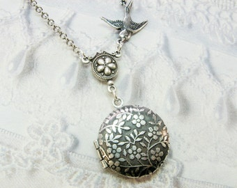 Silver Locket Necklace - LITTLE FLOWER LOCKET - Miniature Locket - Jewelry by BirdzNbeez - Christmas Wedding Birthday Daughter Gift