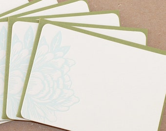 Stationery, Letterpress : Sky Blue Blossoming Flower Notes, box of 50 small flat cards with personalized envelope color choice