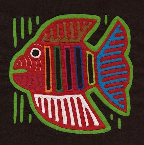 Very Colorful Fish Mola - Kuna Indian Reverse Applique