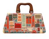Fabulous Milwaukee top handle bag, Wooden handle handbag, Handmade handbag, Handmade fabric purse, Milwaukee handbag with handle, Wisconsin