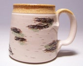 Birch Coffee Mug on White Stoneware Limited Series 193 (microwave safe)12 ounce