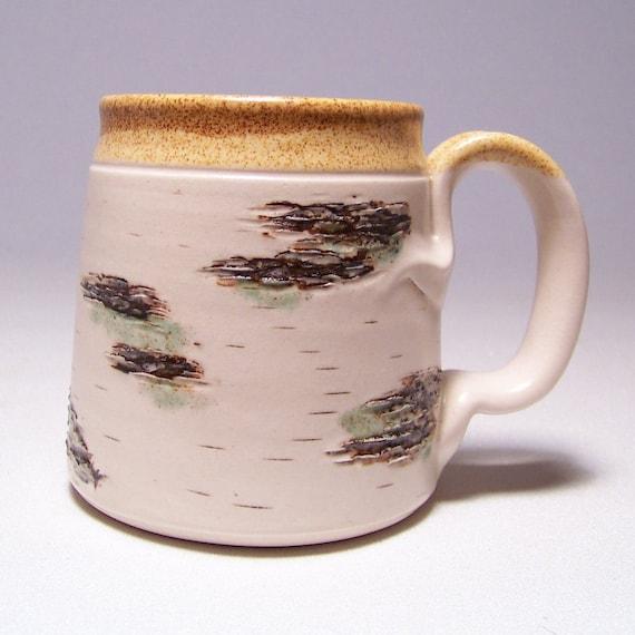 Birch Coffee Mug on White Stoneware Limited Series 193 (microwave safe)12 ounce