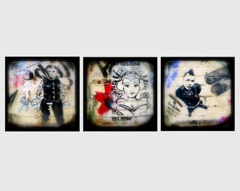 Graffiti Photos Set of Three 5x5 TtV Street Art Photography Prints - Urban Art Home Decor Photographs