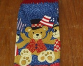 Patriotic Teddy Bear Hand Towel With Burgundy Crocheted Top