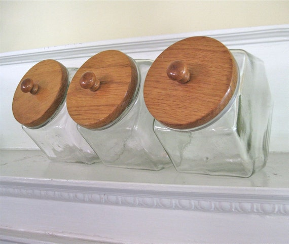 Vintage Candy Jars - Glass Canisters - Wood Tops