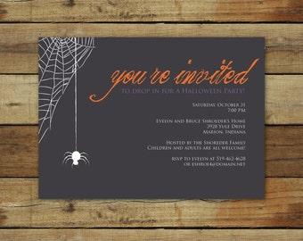Drop in . . . Halloween Party invitation, spider web, printable