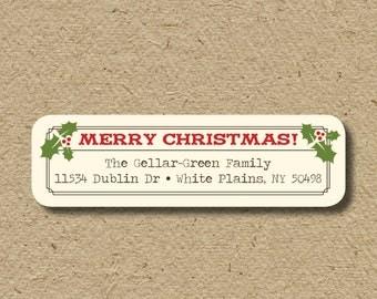 Christmas return address labels, self-adhesive - mistletoe