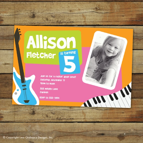 Fresh beat birthday party invitation, musical, photo card