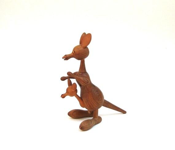 Mid Century Teak Figurine - Kangaroo and Joey - Danish Modern Style