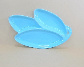 Vintage Large Blue Platter, Blue Serving Dish, Blue Divided Dish, Retro Modern Dish, Large Snack Tray, Party Platter