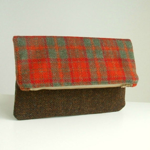 Harris Tweed Foldover Clutch - Two Tone Envelope Bag - Red and Green Check