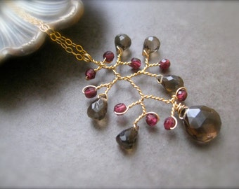 Smokey Quartz and Garnet Branch Pendant, Wire wrapped Pendant, Gold pendant
