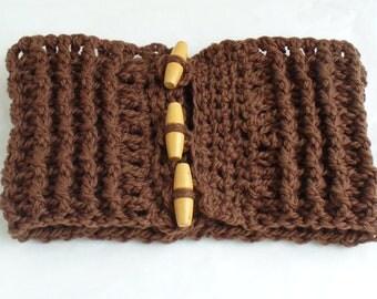 Chunky Chocolate Brown Neckwarmer Crochet Scarf Unisex