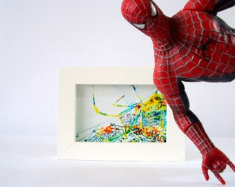 Spider art print. Spiderman themed crawly, flowery fun wall art