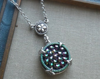 Vintage German Glass Button Necklace- Starry Night- Style 03