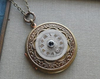 1/2 Price Clearance Sale- Blue Star, Steampunk Locket Necklace