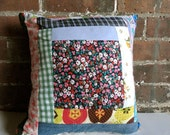 One of a Kind Patchwork Pillow Cover Log Cabin Quilted for 14x14 or 15x15 insert // one of a kind // by Nicoles Threads