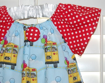 Girl's Back to School Peasant Dress  Only one left  Size 4t  ready to ship