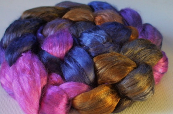 Hand Dyed Mulberry silk brick 3.3ozs Night Orchid