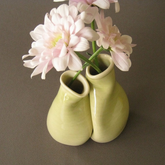 "Delicate Bud Vase Pair, Unique wedding, engagement or anniversary gift, ""Only one for me"""
