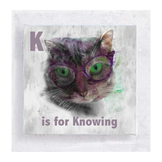 Alphabet Art - ABC Art - Kids Wall Art - Nursery Art - 5x5 Art Block - K is for Knowing- Animal Portrait - Wall Art - Home Decor