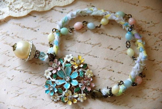 Shabby chic enamel flower rhinestone bracelet. Tiedupmemories