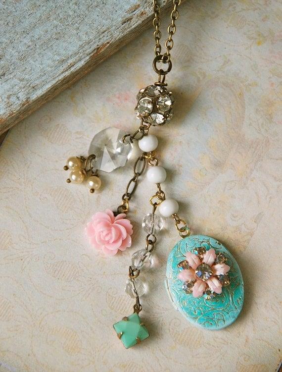 Lola. shabby chic floral locket necklace. Tiedupmemories