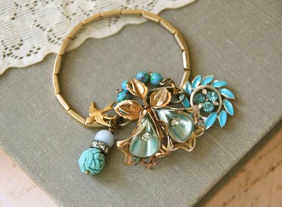 Sparrows blue dream. vintage assemblage charm bracelet. Tiedupmemories